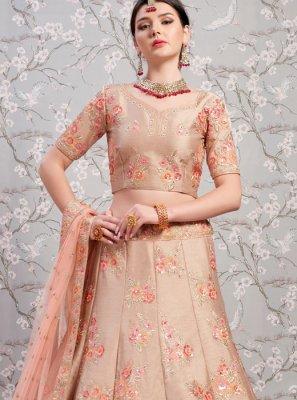 Beige Banglori Silk Wedding Lehenga Choli