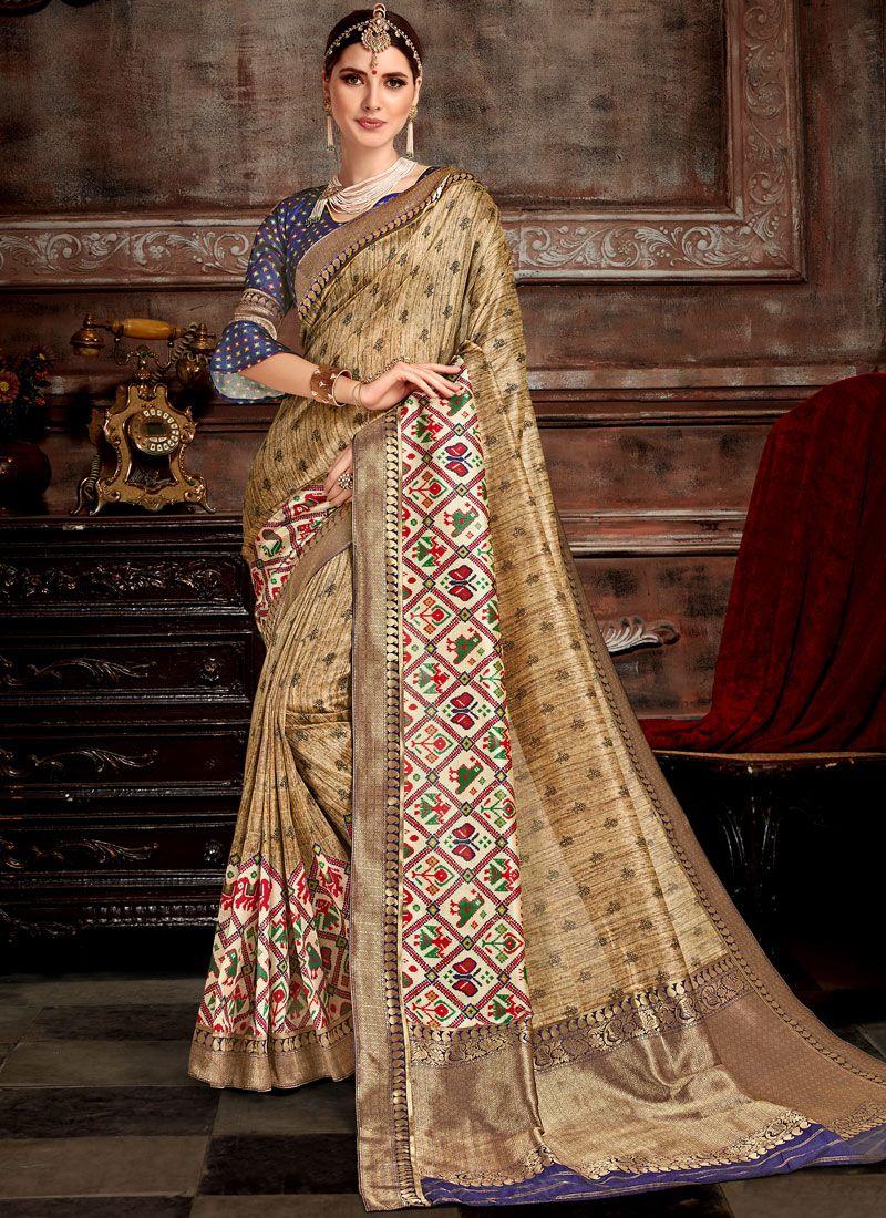 Beige Bhagalpuri Silk Designer Saree