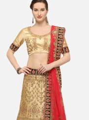 Beige Border Art Silk Designer Lehenga Choli