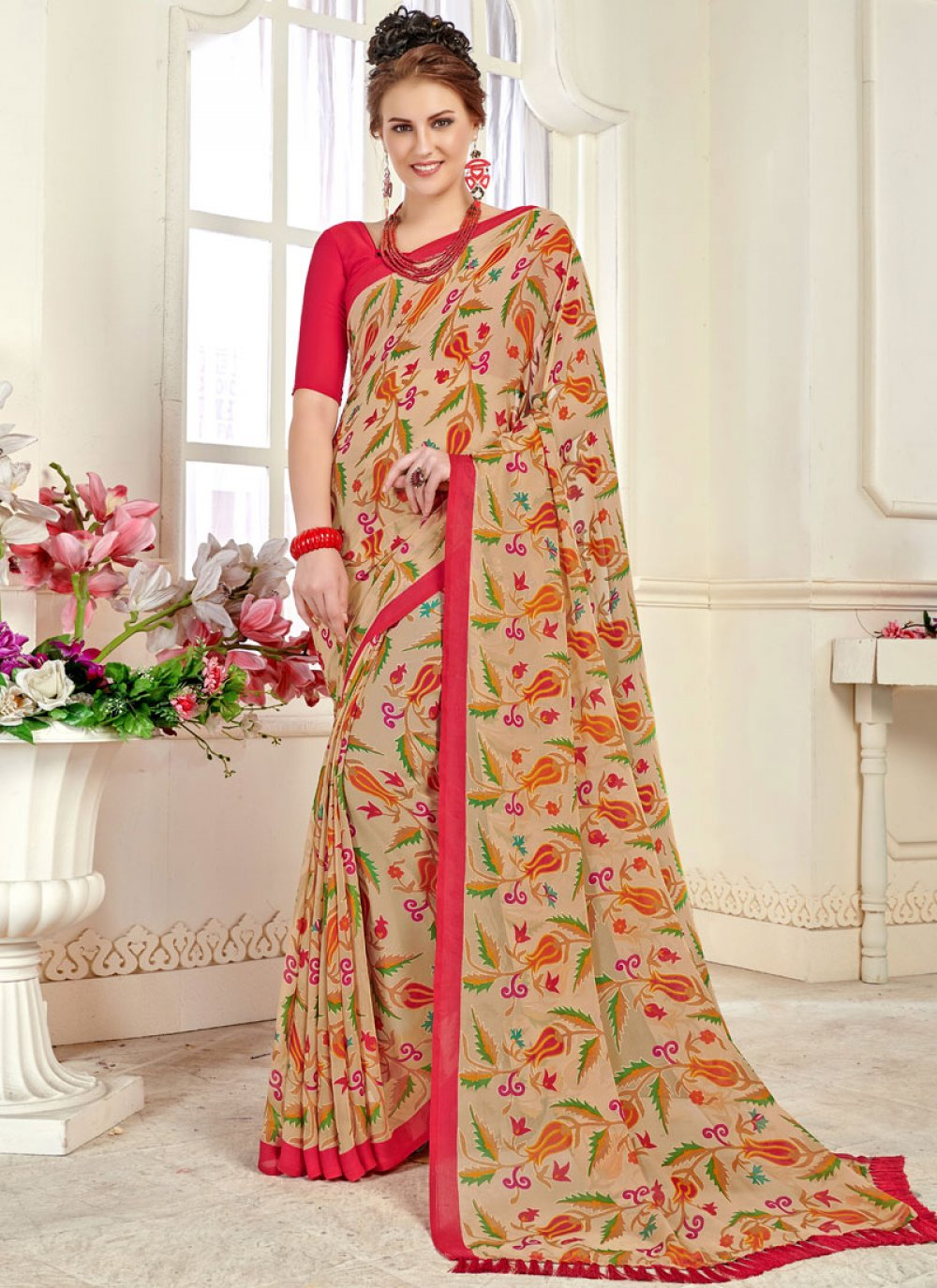 Beige Brasso Printed Trendy Saree