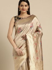 Beige Casual Art Silk Traditional Saree