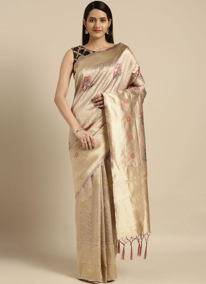 Beige Casual Art Silk Traditional Saree