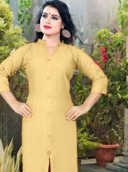 Beige Casual Cotton Casual Kurti