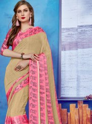 Beige Casual Georgette Satin Casual Saree