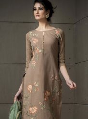 Beige Ceremonial Cotton Pant Style Suit