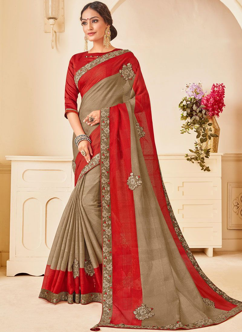 Beige Ceremonial Poly Silk Traditional Designer Saree