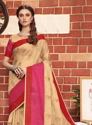 Beige Ceremonial Traditional Designer Saree