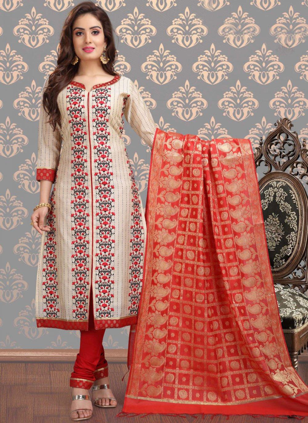 Beige Chanderi Churidar Designer Suit