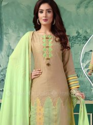 Beige Chanderi Churidar Salwar Suit