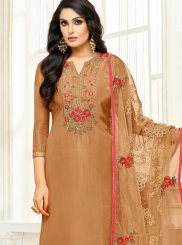 Beige Color Designer Straight Suit