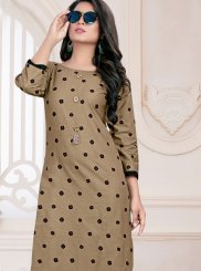 Beige Cotton Casual Kurti