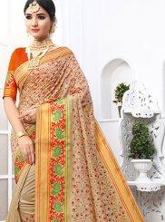 Beige Cotton Classic Designer Saree
