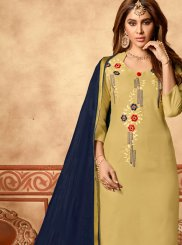 Beige Cotton Embroidered Churidar Designer Suit