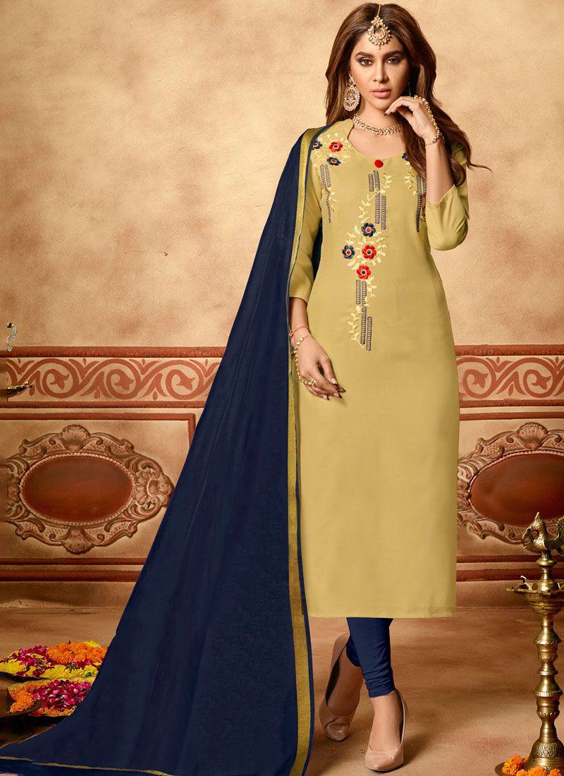 Beige Cotton Embroidered Churidar Designer Suit