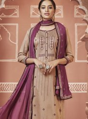 Beige Cotton Festival Churidar Designer Suit