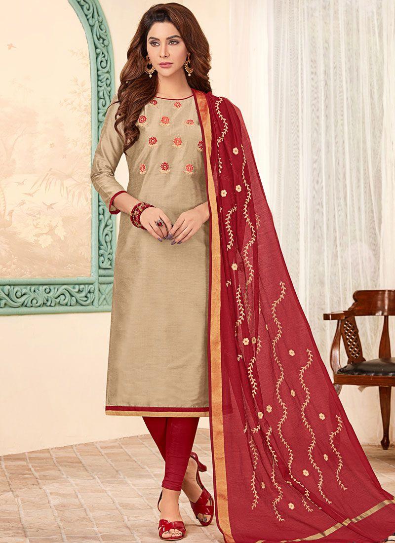Beige Cotton Festival Churidar Designer Suit