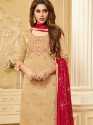 Beige Cotton Festival Churidar Suit
