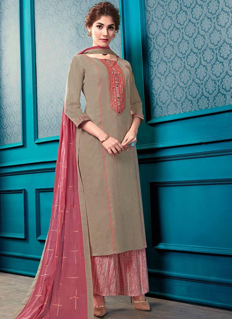 Beige Cotton Palazzo Designer Salwar Kameez
