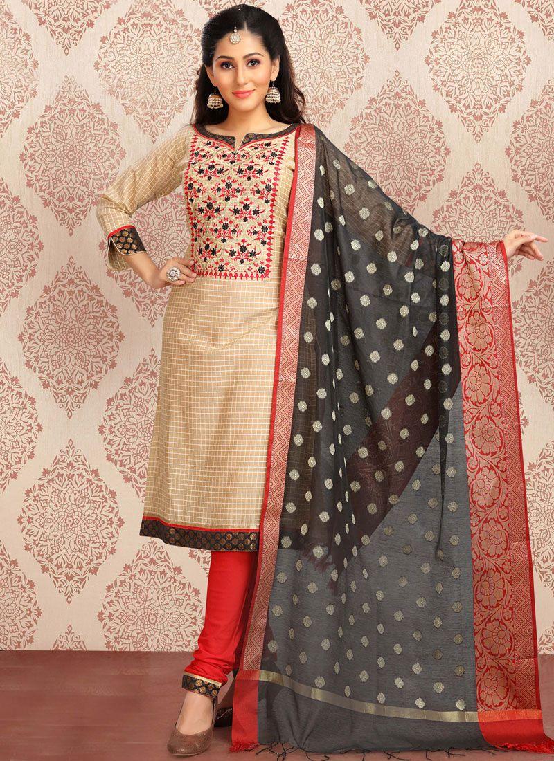 Beige Cotton Resham Churidar Designer Suit