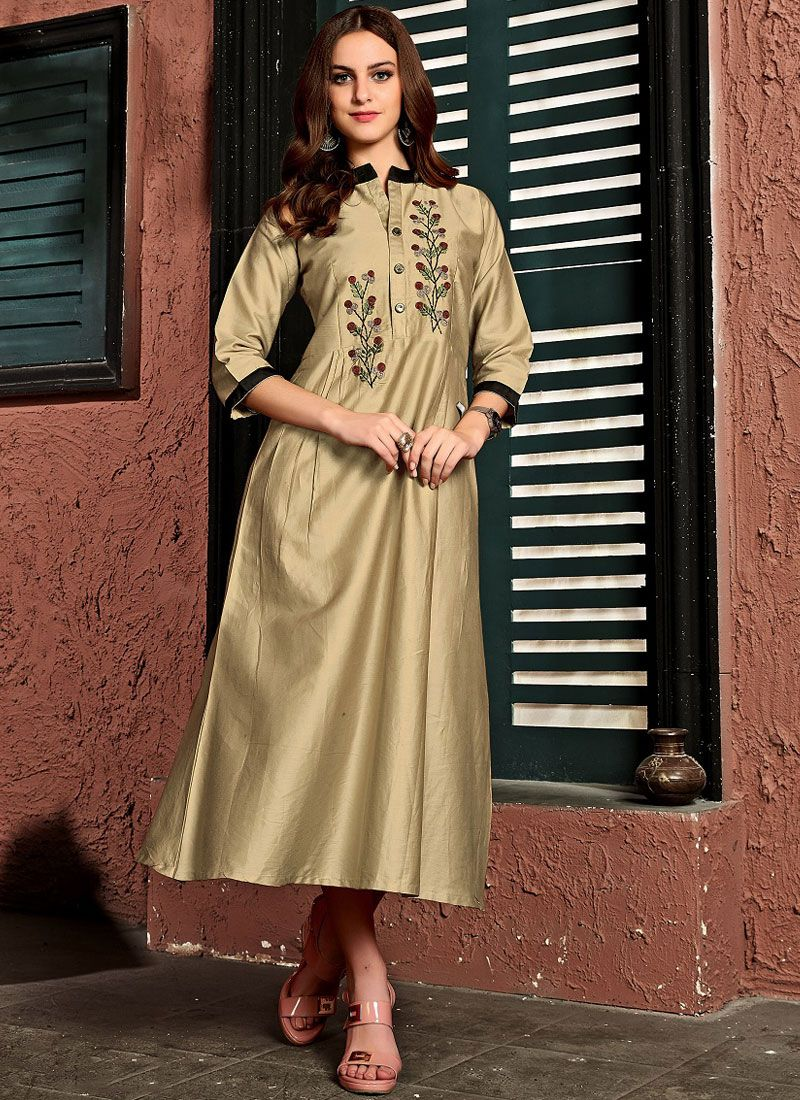 Beige Cotton Satin Embroidered Party Wear Kurti