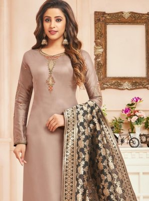 Beige Cotton Silk Designer Straight Suit