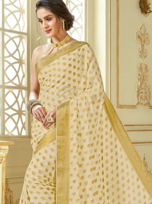 Beige Crepe Silk Woven Traditional Designer Saree
