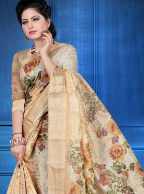 Beige Digital Print Art Silk Printed Saree
