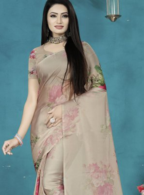 Beige Digital Print Silk Saree