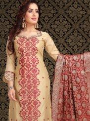 Beige Embroidered Chanderi Churidar Designer Suit