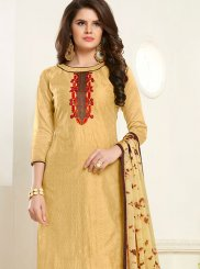 Beige Embroidered Churidar Designer Suit