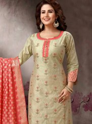 Beige Embroidered Churidar Salwar Kameez