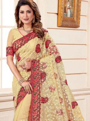 Beige Embroidered Classic Designer Saree