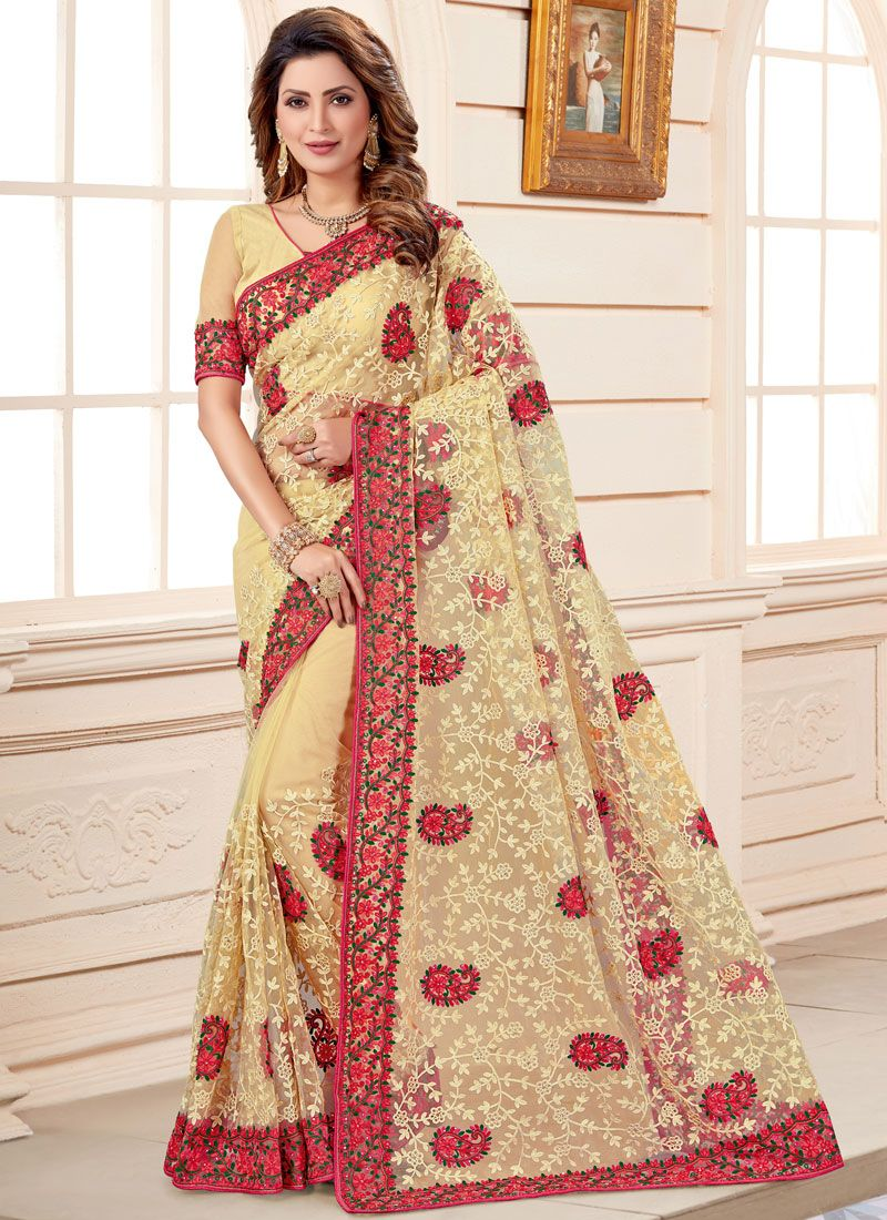 Beige Embroidered Classic Designer Saree