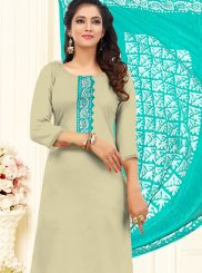 Beige Embroidered Cotton Churidar Designer Suit