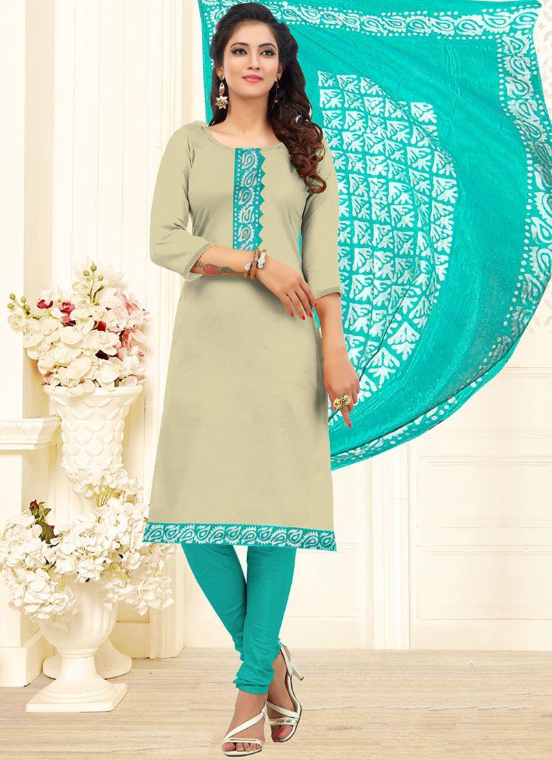 Beige Embroidered Cotton Churidar Designer Suit
