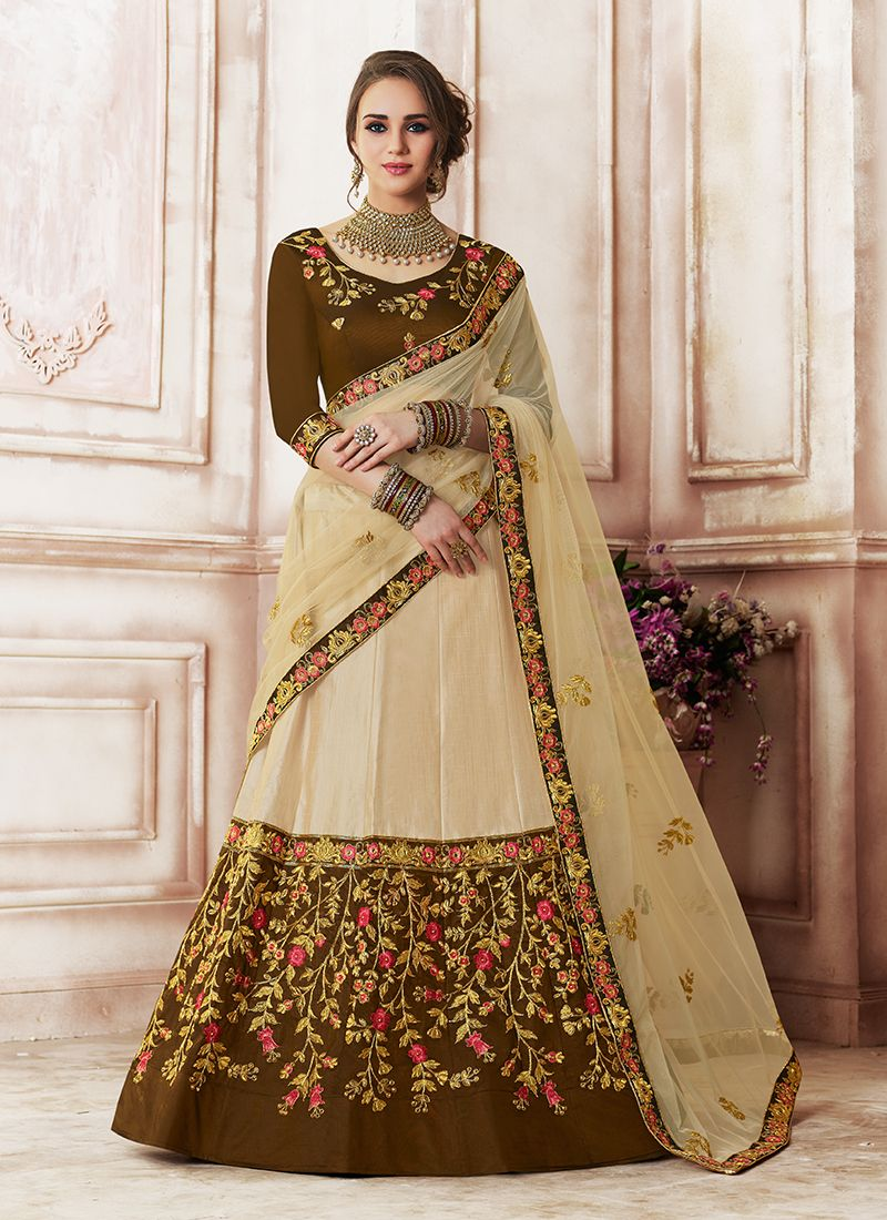 Beige Embroidered Designer Lehenga Choli