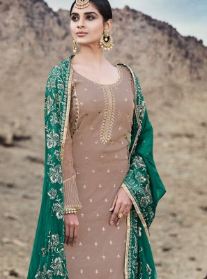 Beige Embroidered Designer Palazzo Suit