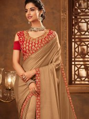 Beige Embroidered Designer Traditional Saree