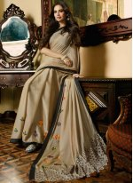 Beige Embroidered Faux Chiffon Designer Saree