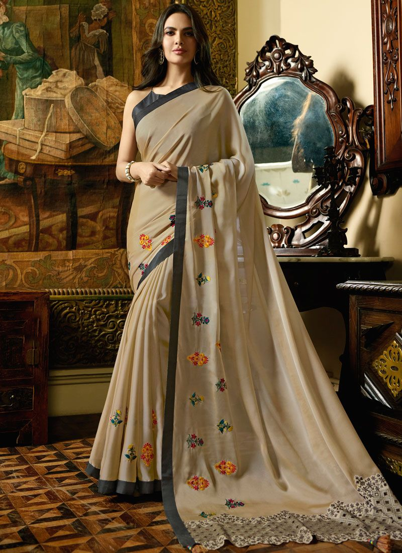 Beige Embroidered Faux Chiffon Designer Saree
