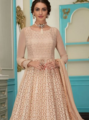 Beige Embroidered Faux Georgette Floor Length Anarkali Suit