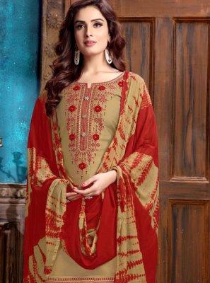 Beige Embroidered Festival Designer Patiala Salwar Kameez