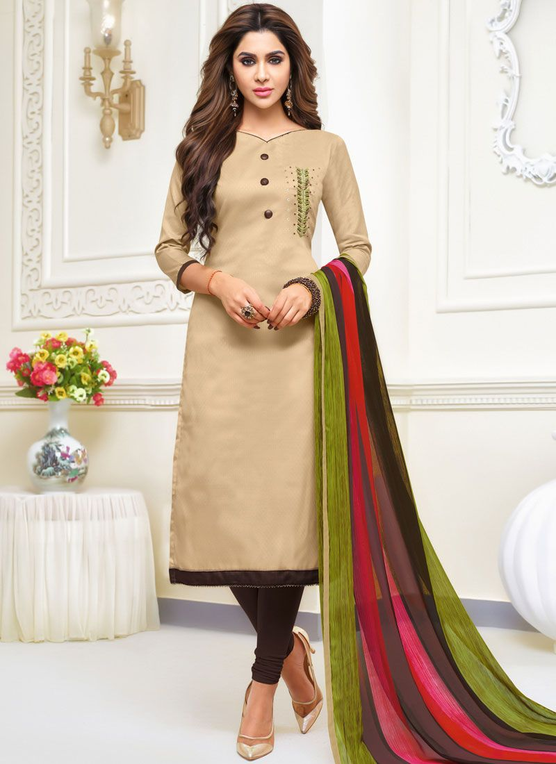 Beige Embroidered Festival Salwar Suit