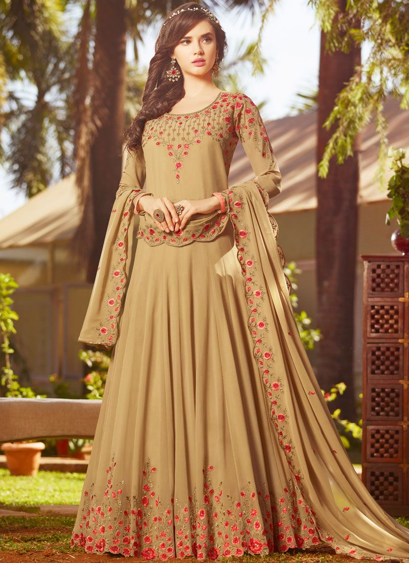 Beige Embroidered Floor Length Anarkali Suit