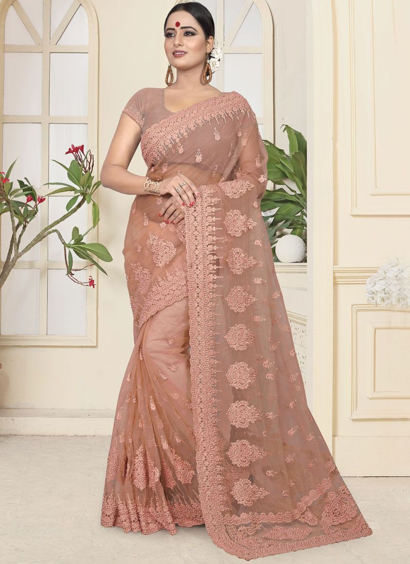 Beige Embroidered Party Designer Traditional Saree
