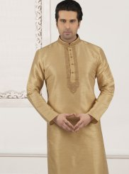Beige Embroidered Party Kurta Pyjama