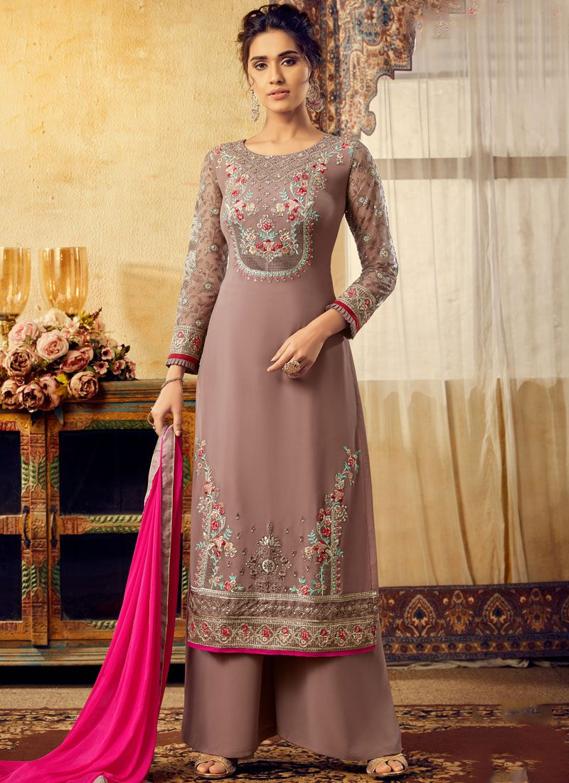 Beige Embroidered Party Palazzo Salwar Kameez