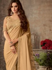 Beige Embroidered Silk Trendy Saree