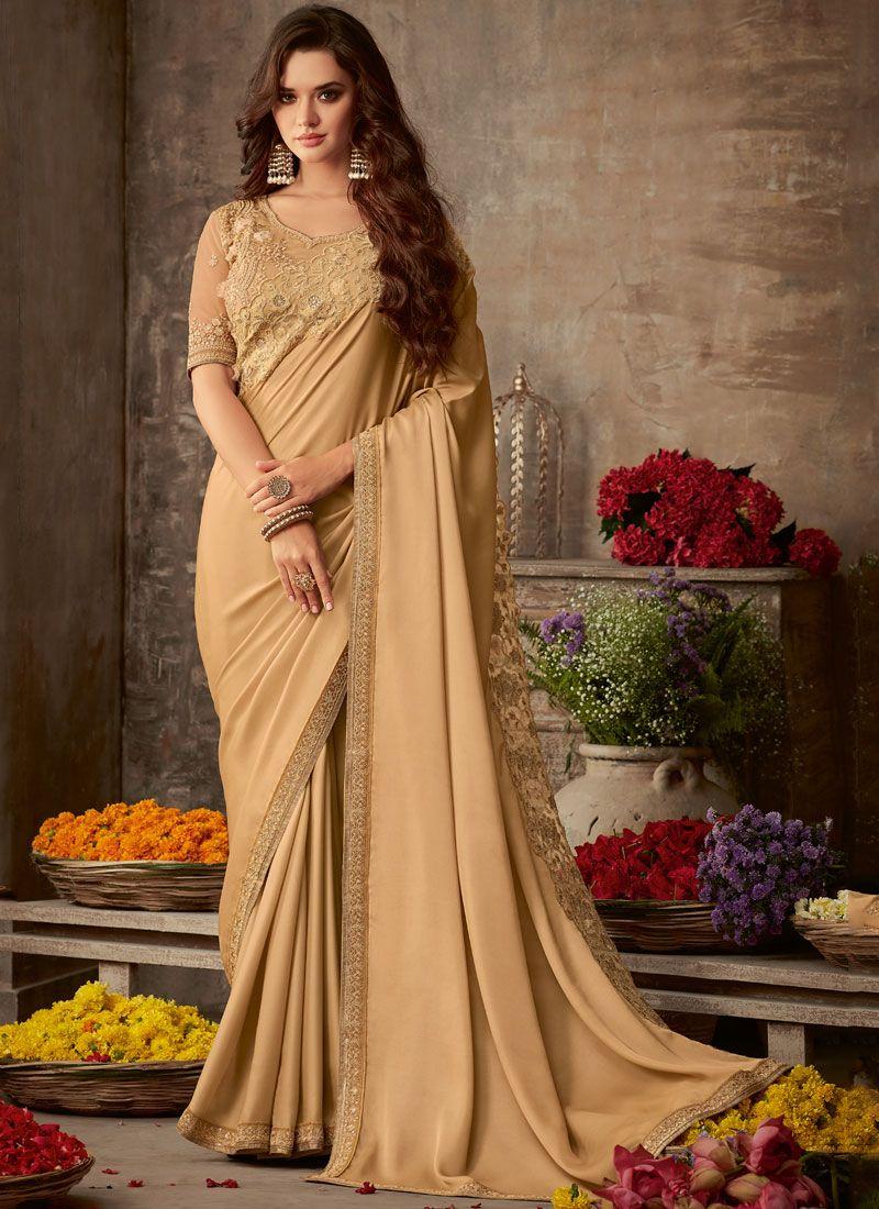 Beige Embroidered Silk Trendy Saree