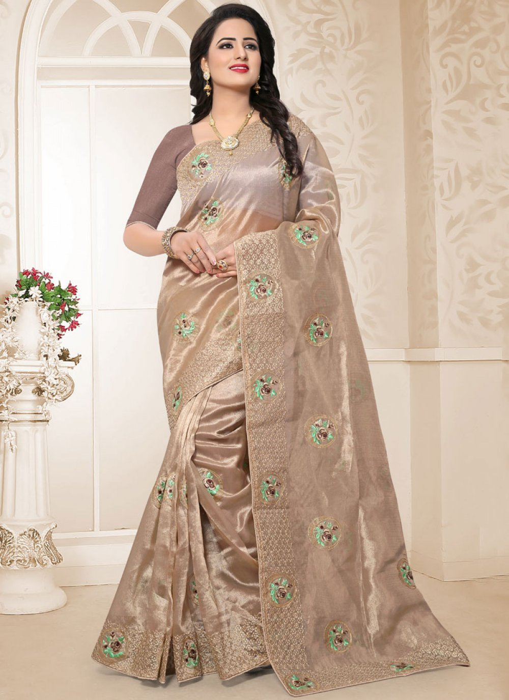 Beige Embroidered Traditional Saree